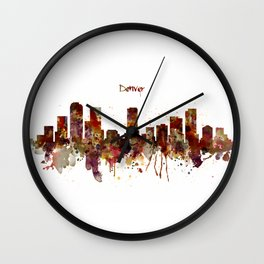 Denver Skyline Silhouette Wall Clock