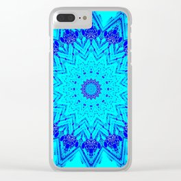Bright blue turquoise Mandala Design Clear iPhone Case