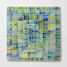 Watercolor abstract rectangles - yellow and blue Metal Print