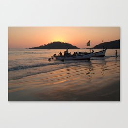 Returning from Dolphin Trip Palolem Canvas Print