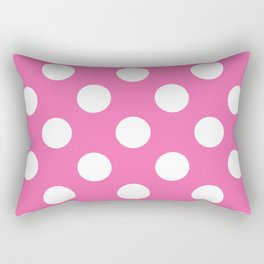 Geometric Candy Dot Circles - White on Strawberry Pink Rectangular Pillow