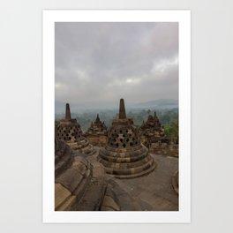 Cloudy morning on top of Borobudur temple Art Print