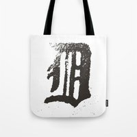 detroit Tote Bags featuring Detroit by Landon Sheely