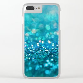Aqua turquoise blue shiny glitter print effect- Sparkle Luxury Backdrop Clear iPhone Case