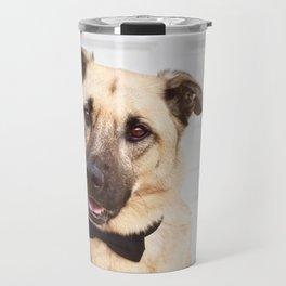 Beautiful rescue dog wearing a bow tie! Travel Mug