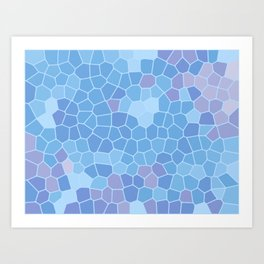 Ice Blue Abstract Blocks Tile Pattern Background Art Print