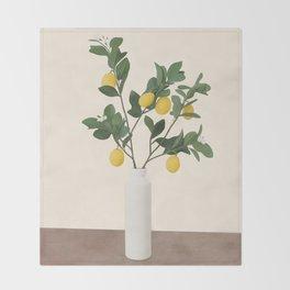 Lemon Branches II Throw Blanket