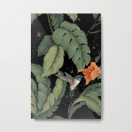 Humming bird monstera nite Metal Print