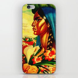 Vintage Mexico Travel - Woman with Flowers iPhone Skin
