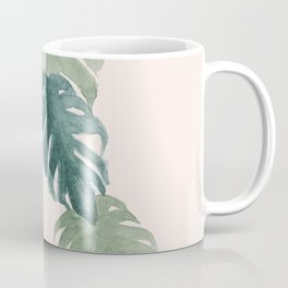 Minimalist watercolor tropical monstera leaves in blushpink and emerald Coffee Mug