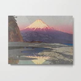 Fujiyama from Okitsu Views of Mount Fuji Vintage Beautiful Japanese Woodblock Print Hiroshi Yoshida Metal Print