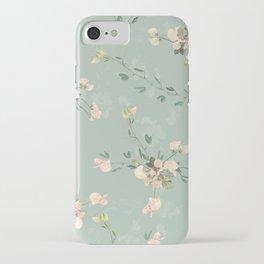 Sweet pea botanical pattern in green iPhone Case