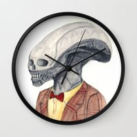xenomorph Wall Clocks featuring Xenomorph by Monsters in Plaid