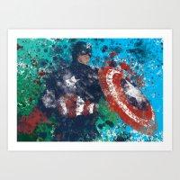 Captain America Splatter Art Print
