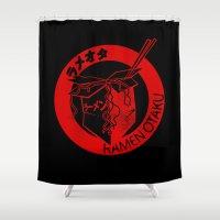 ramen Shower Curtains featuring This Is My Ramen Shirt (Messy) by Bouké