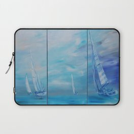 Regata Yachts Sailboat Marine tryptych blue paintings S054 Acrylic Original Contemporary Art for Lou Laptop Sleeve