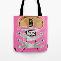 vans Tote Bags featuring Cute pink Vans all star baby shoes apple iPhone 4 4s 5 5s 5c, ipod, ipad, pillow case and tshirt by Three Second