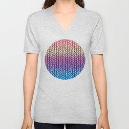 Rainbow Gradient Chunky Knit Pattern Unisex V-Neck