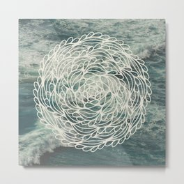 Mandala Ocean Waves Metal Print