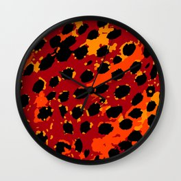 Cheetah Spots in Red, Orange and Yellow Wall Clock