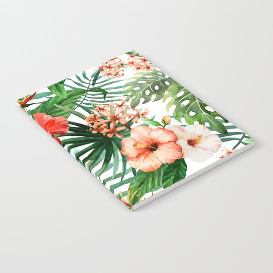 Hibiscus and Palm Leaf Pattern Notebook