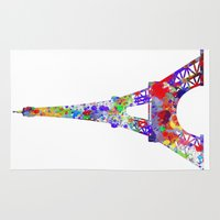 eiffel tower Area & Throw Rugs featuring Eiffel Tower  by ron ashkenazi