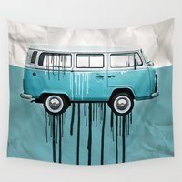 vw Wall Tapestries featuring VW kombi 2 tone paint job by Vin Zzep