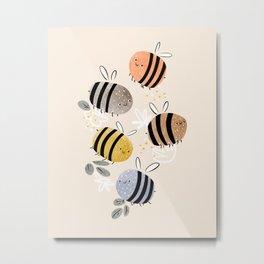 Sweet little baby bees watercolor illustration Metal Print