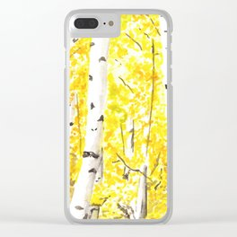 Yellow Aspen Trees Watercolor art Painting Yellow Birches wall hanging wall Art Clear iPhone Case