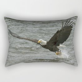 Bald  Eagle catching fish from river. Rectangular Pillow