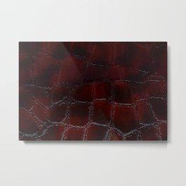 Red natural leather female purse closeup Metal Print