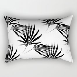 Palmetto Fronds Leaf Pattern Black and White Rectangular Pillow