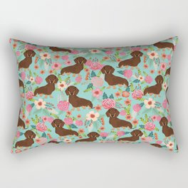 Doxie Florals - vintage doxie and florals gift gifts for dog lovers, dachshund decor, chocolate and Rectangular Pillow