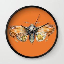 orange moth (ORIGINAL SOLD). Wall Clock