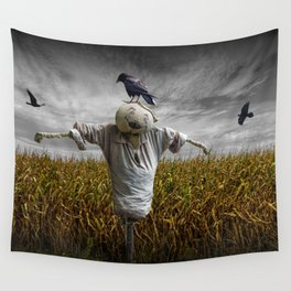 Scarecrow with Black Crows over a Cornfield Wall Tapestry