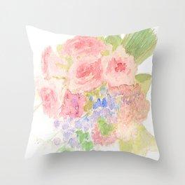 Garden Bouquet Watercolor Wedding Pink Roses Throw Pillow
