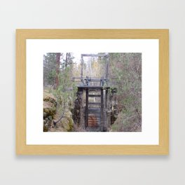 Antique Spillway, Old River Spillway in Trees and Bushes Framed Art Print