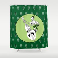 bass Shower Curtains featuring Psychobilly Bass by Andrew Mark Hunter