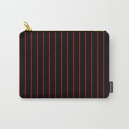Classic Baseball Pattern Thin Red Stripes on Black Carry-All Pouch