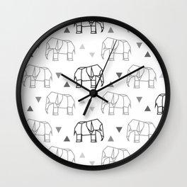 Origami Elephant Pattern Wall Clock