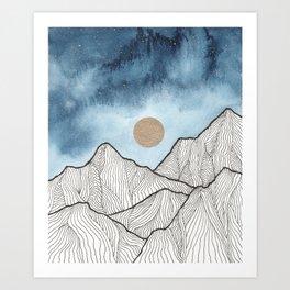 Indigo & gold landscape 12 Art Print