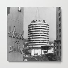 Capital Records Building, Los Angeles, California black and white photograph / black and white photography Metal Print