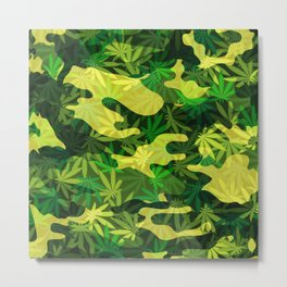 Green Marijuana Cannabis camo camouflage army style pattern Metal Print