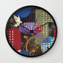 City grunge abstract, seamless vintage pattern. Wall Clock