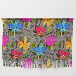 Tropical Floral on Grey Wall Hanging