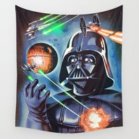 death star Wall Tapestries featuring My little Death Star by Santiago Sarquis