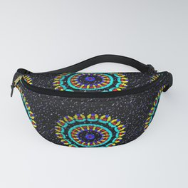 Kaleidoscope Patterns Against Black Fanny Pack