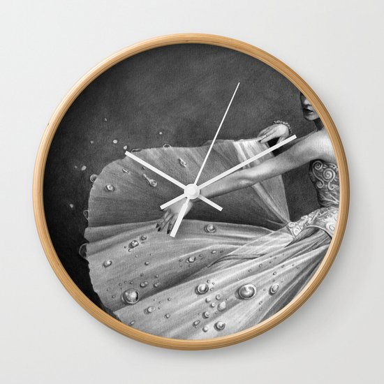 White Morning - graphite pencil drawing Wall Clock