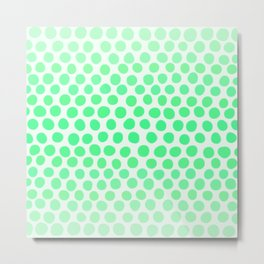 Light Apple Green Dots Ombre Abstract Metal Print