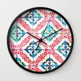 Lisbon tiles in watercolor Wall Clock